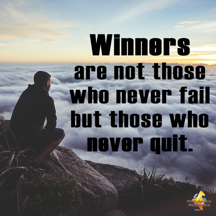Winners Never Quit Inspirational Quote