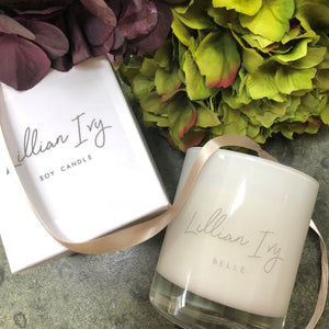 Hertfordshire based Lillian Ivy - Belle scented soy wax candle