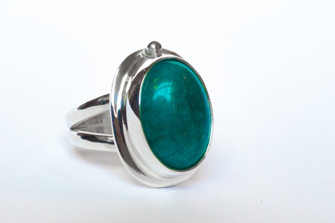 Aquamarine Split Band Ring