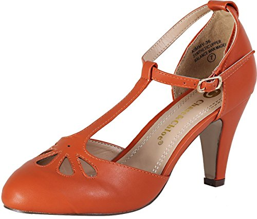 Chase & Chloe Kimmy-36 Persimmon Orange Teardrop Cut Out T-Strap Mid Heel Pumps
