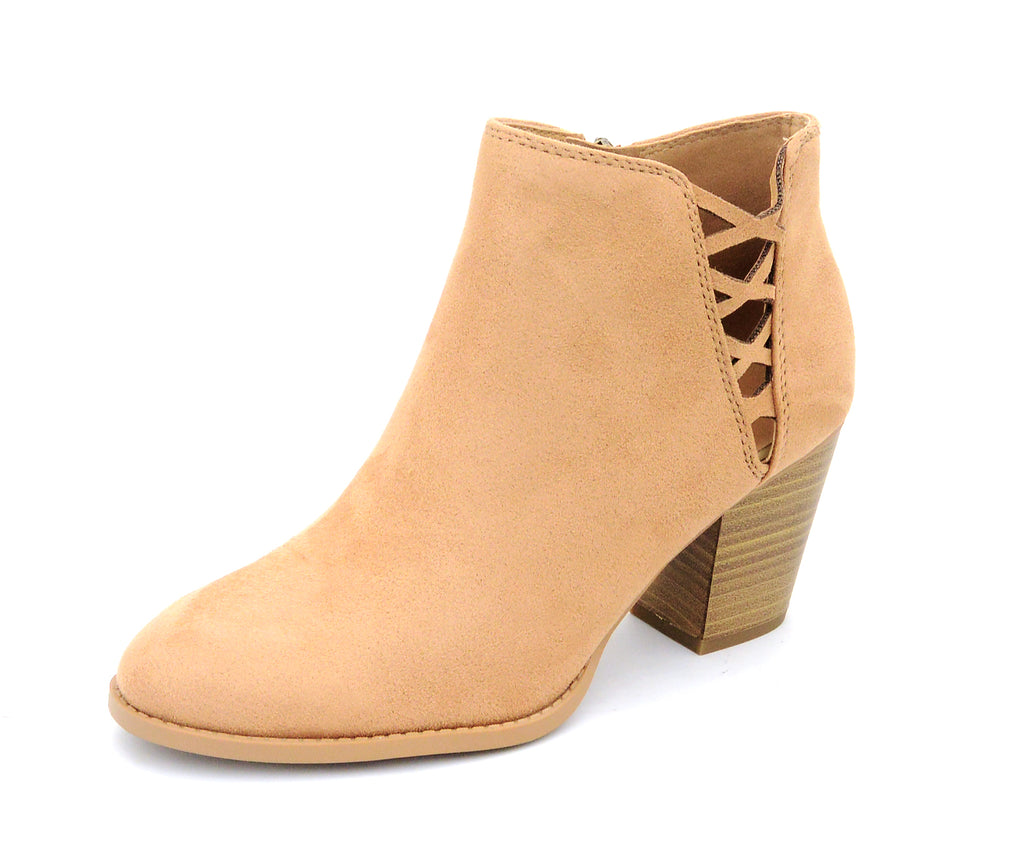 City Classified Habit Camel Vegan Nubuck Side Stacked Heel Bootie
