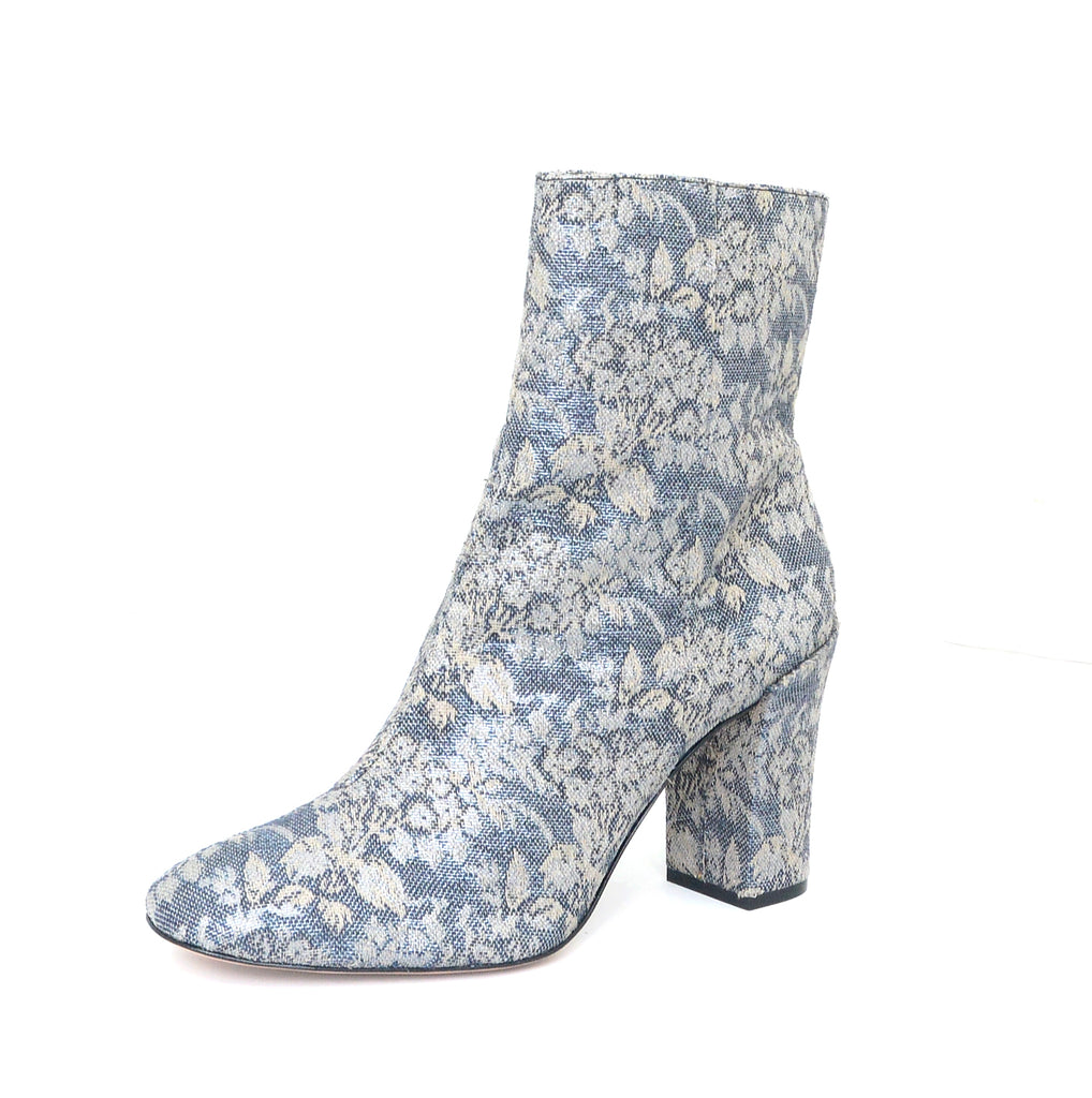 Schutz Women's Meylle Blue Floral Jacquard Ankle Dress Bootie