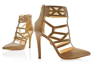 ESDRA POINTED TOE NUDE LEATHER SINGLE SOLE HIGH HEEL CUTOUT STRAPPY ANKLE BOOTIE