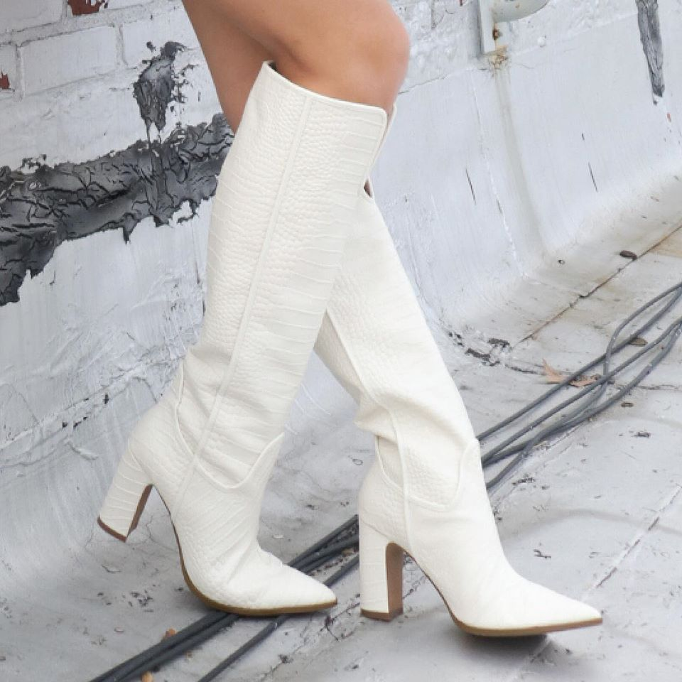 Cecelia New York Reckon Croc Embossed Knee High Western Boot Alabaster White