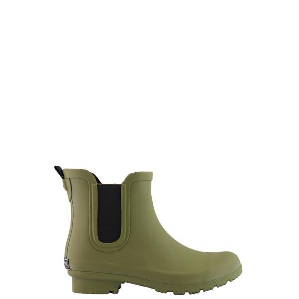 Roma Women's Chelsea High Ankle Vegan Rain Boots Waterproof Matte Olive