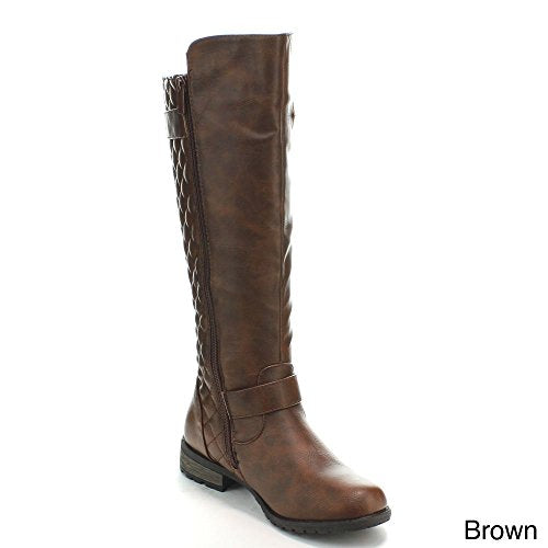 Forever Link Women's MANGO-21 Quilted Zipper Accent Riding Boots, Brown