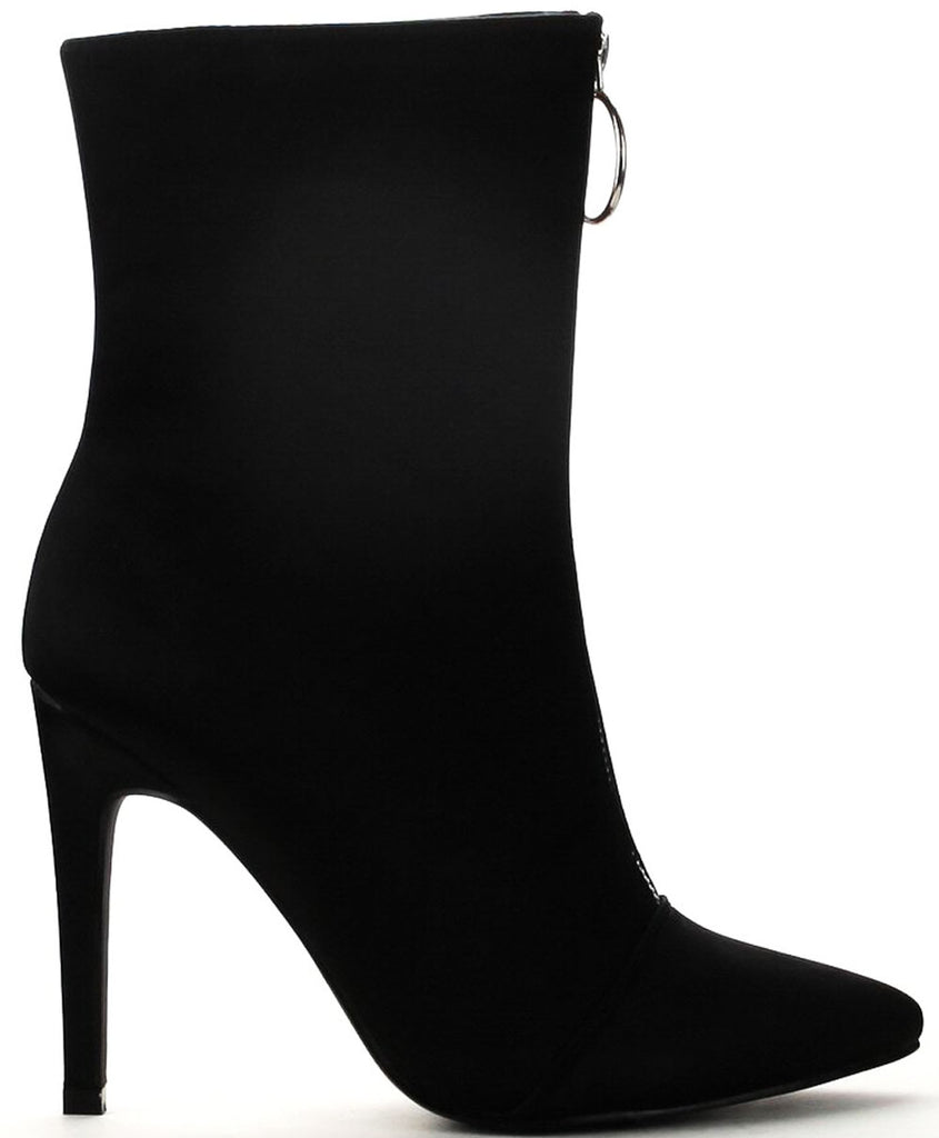 Cape Robbin Gigi-16 Black Stretch Pointed Stiletto Designer ankle Dress Bootie
