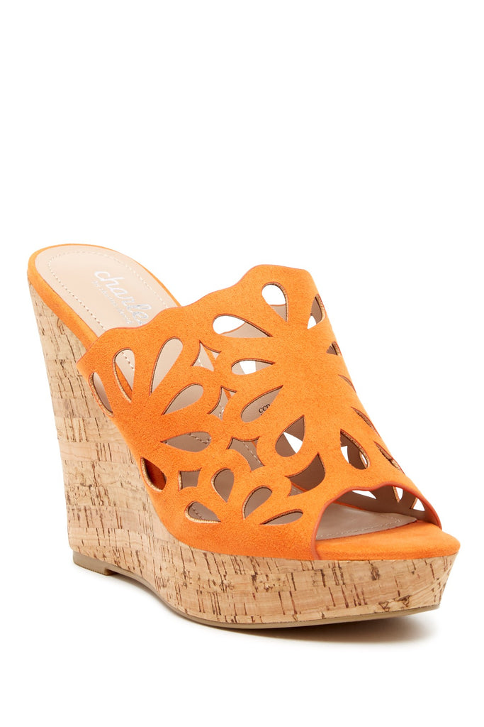 Charles By Charles David April Ginger Flowery Cutout Cork Platform Wedge Sandal