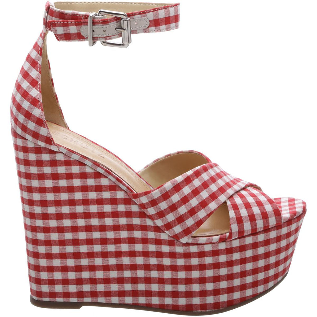Schutz Serennas Red White Gingham Open Toe Wrapped Wedge Platform Sandal