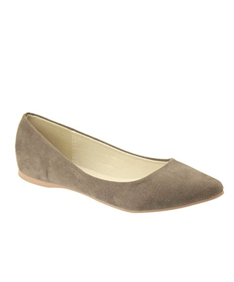 Bella Marie Angie-28 Women's Classic Pointy Toe Ballet Flat Shoes Taupe