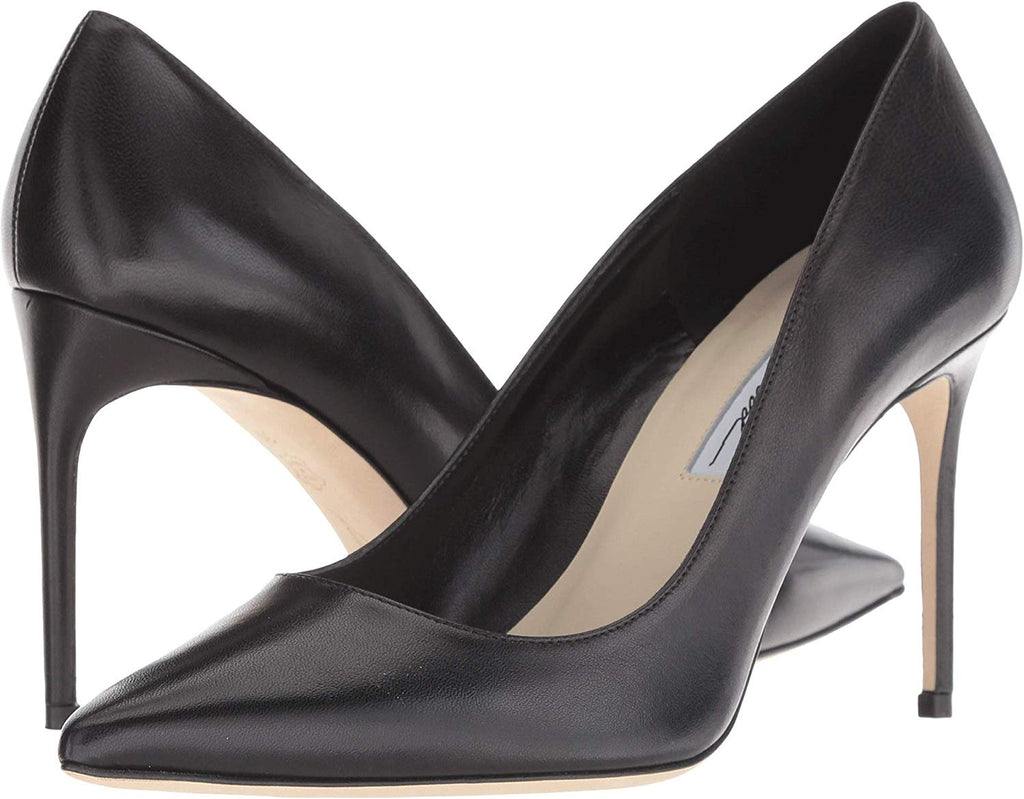 Brian Atwood VALERIE Pump Black Leather Pointed Toe Classic Dress Pumps