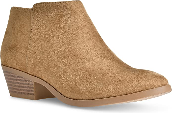 Soda Western Ankle Bootie Chunky Block Heel Natural Faux Suede