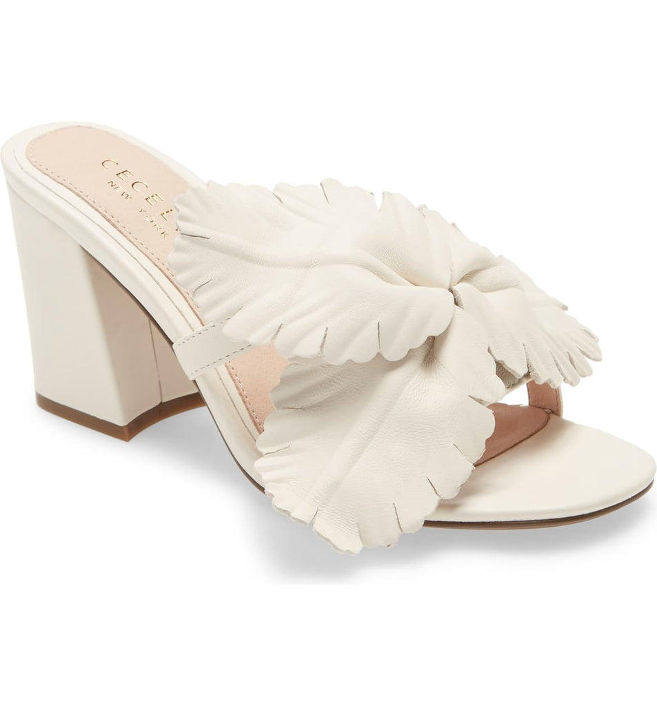 Cecelia New York HIBISCUS Heeled Sandal Alabaster White Open Toe Flower Mule