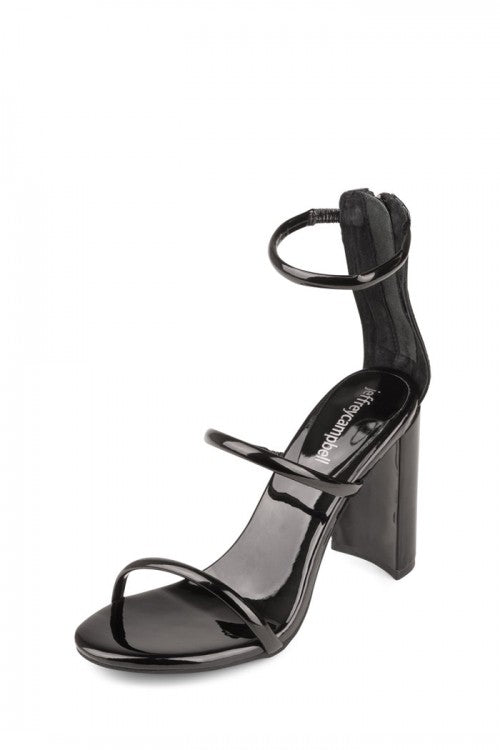 Jeffrey Campbell LEXIA Open Toe Block Heeled Sandals, Black Patent