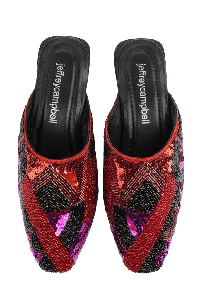 Jeffrey Campbell ABHA-S Beaded Print Mule Red Multi Mule Sequin Slides