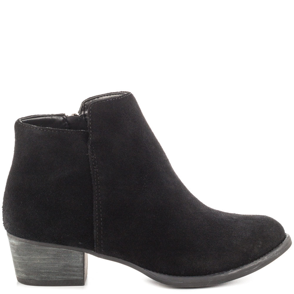 Jessica Simpson Women's Delaine Boot, Black Suede Low Cut Ankle Booties