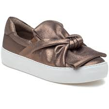 J/Slides Audra Taupe Metallic Bronze Leather Slip On Platform Fashion Sneakers