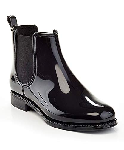 Henry Ferrera Women's Clarity Waterproof Ankle Rubber Rain Boots Black-Mars