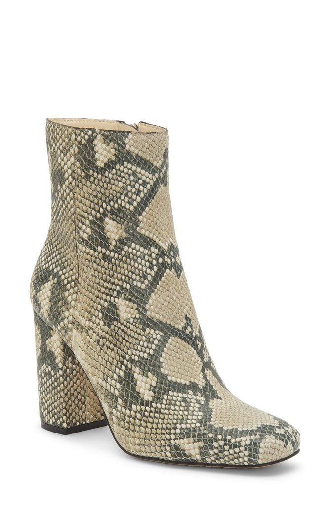 Vince Camuto Dannia Natural Snake Square toe Leather Leather Square-Toe Booties