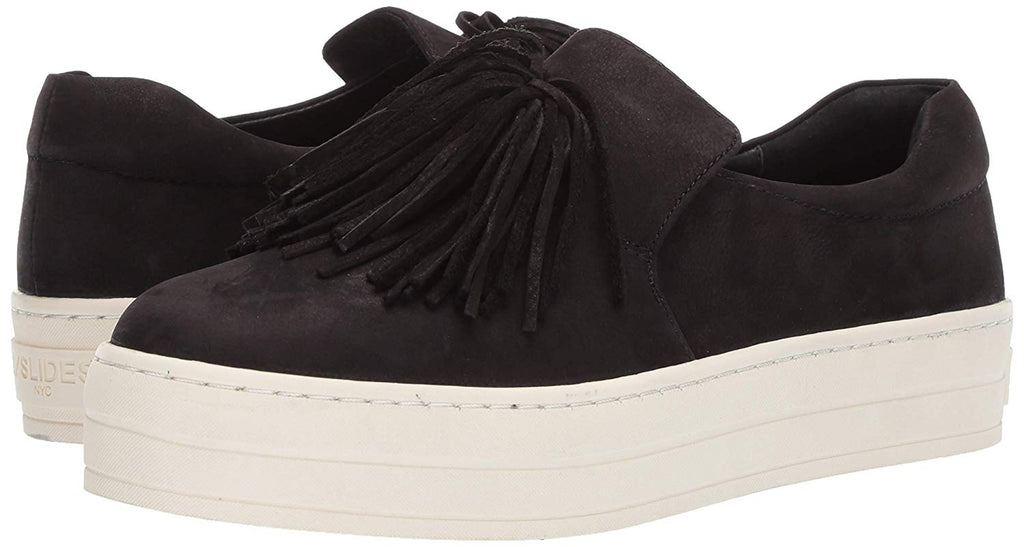 JSlides HOPE Sneaker Black Nubuck Tassel White PLatfrom Slip On Sneakers