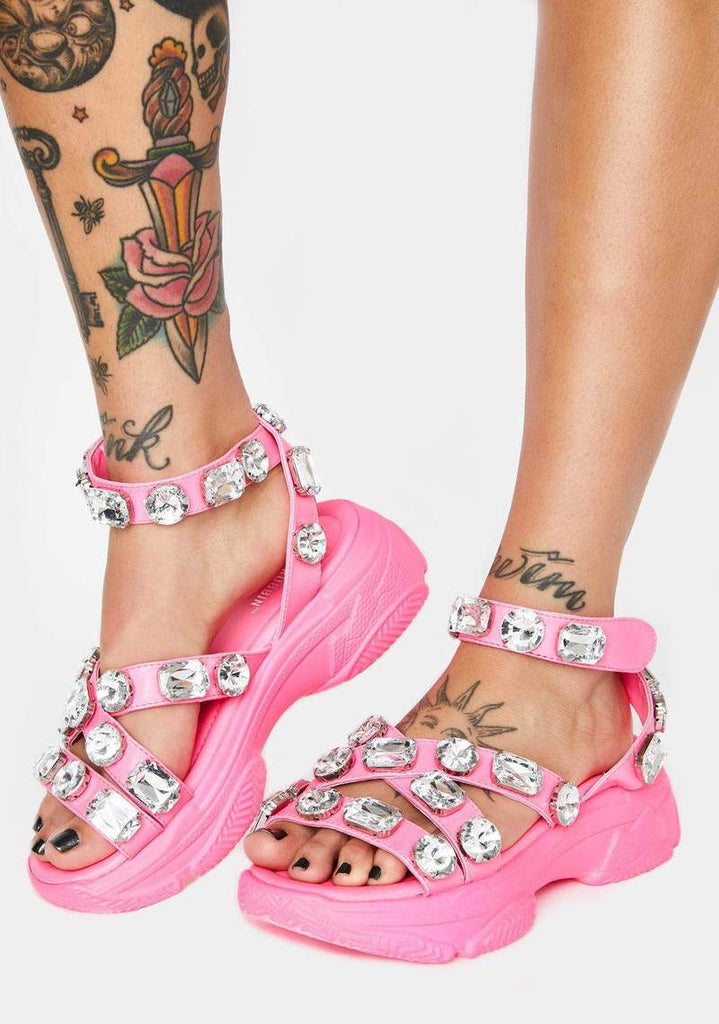 Cape Robbin Statement Chunky Block Heel Jeweled Platform Sneaker Sandals Pink