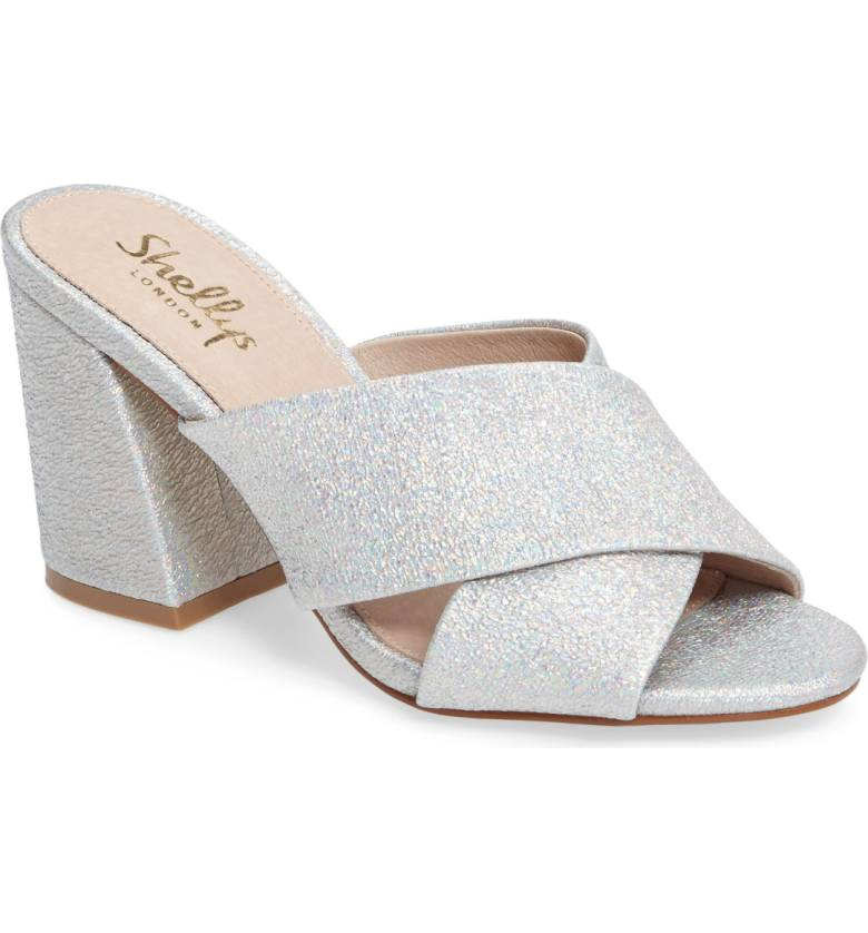 Shellys London Dani Silver Sparkle Glitter Block Heel Mule Upen Toe Dress Sandal