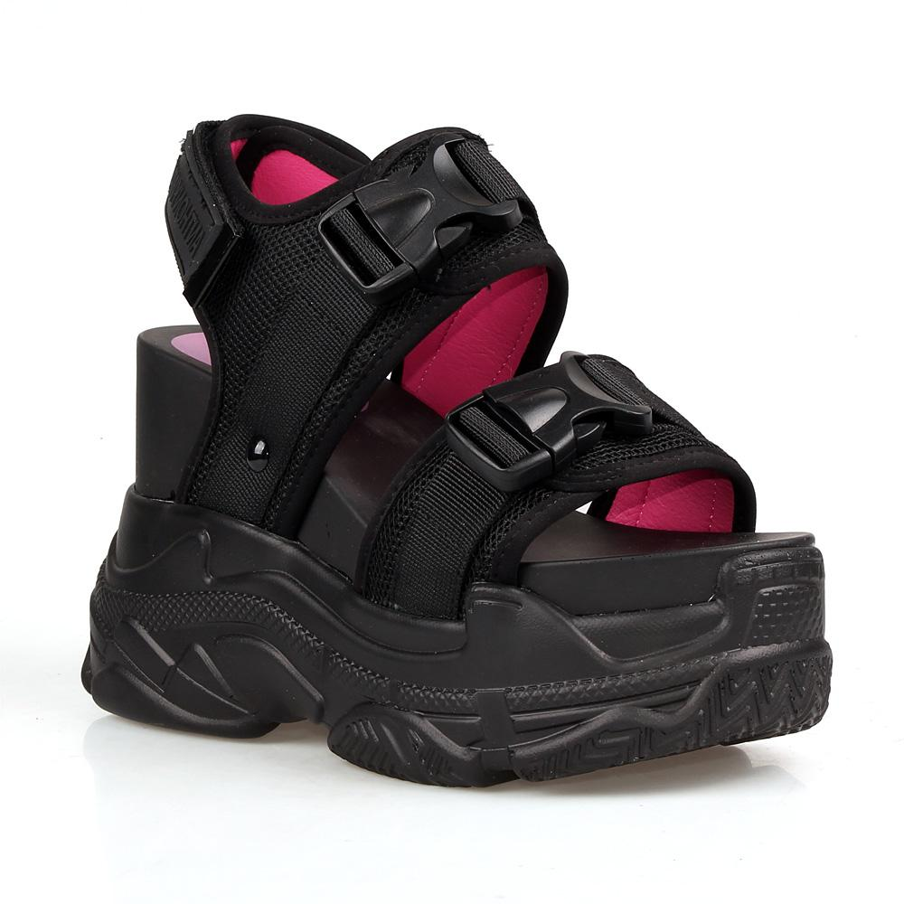 Anthony Wang Peach-02 Black 90s Ugly Sporty Athleisure Platform Wedge Sandal