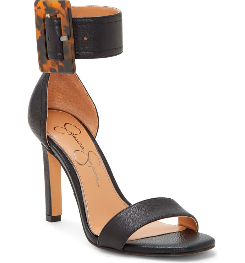 Jessica Simpson Caytie Black Leather Two Peice Ankle Strap Buckle Pumps Sandal