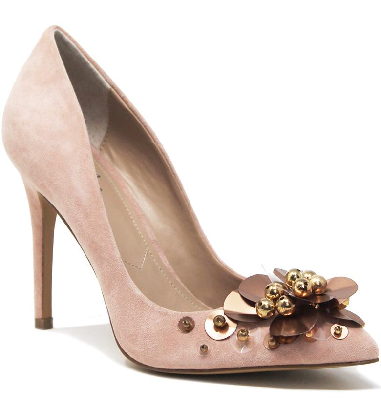 CHARLES BY Charles David Preston BLUSH Nude Suede Pointed Toe Stiletto Pump