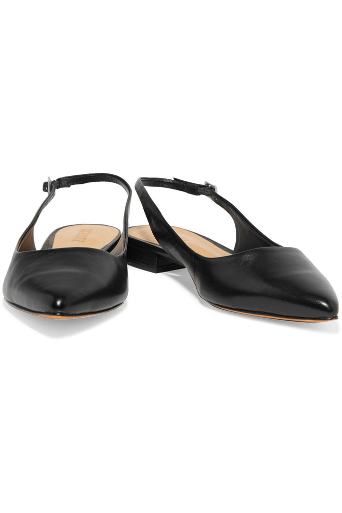 Schutz Women's Black Glancee Black Leather Slingback Point-toe Flats