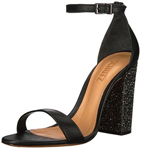 Schutz Hara Black Sandals Feature Crystal-Encrusted Formal Thick heel