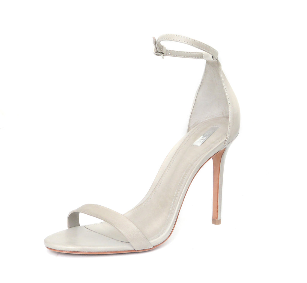 Schutz Cadey-Lee Ciment Grey Leather Dress Sandal Taupe Two Peice Pump