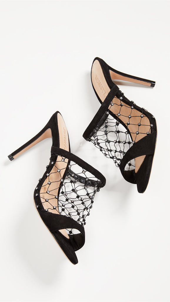 Schutz Black Leather Backless Crystal Fishnets Open Toe Stiletto Heeled Sandals