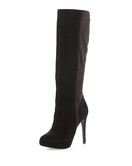 Charles David Black Farrah Black suede round roe high heel knee platform boot