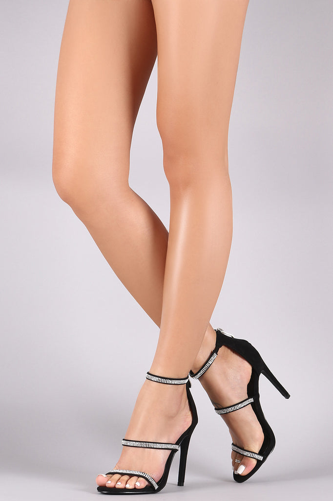 Liliana Golden-121 Black Suede Triple Strap Stiletto Heel