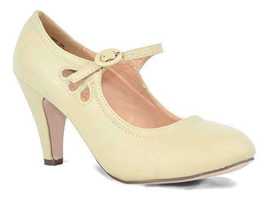 Chase & Chloe Kimmy-21 Round Toe Mid Heel Mary Jane Style Dress Pumps Nude