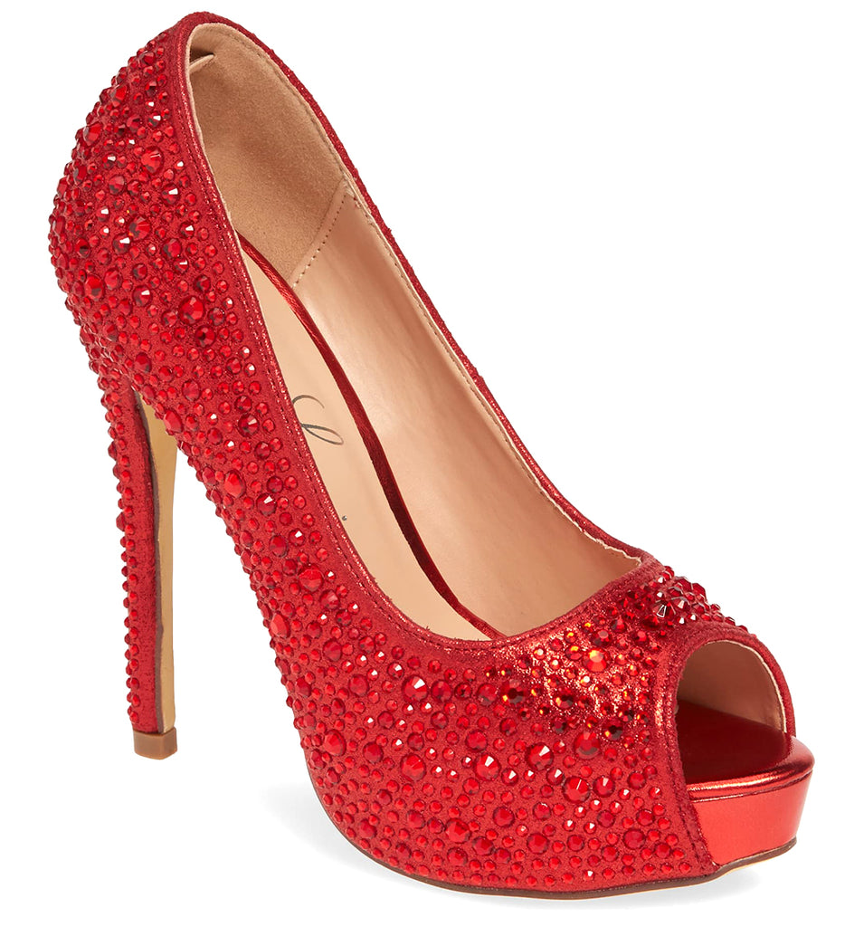 Lauren Lorraine Candy6 Red Glistening Peep Toe Tapered Heeled Sandals