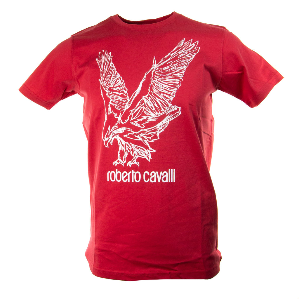Roberto Cavalli Eagle Graphic Short Sleeve Cotton Logo T-Shirt Red FST965A02702000