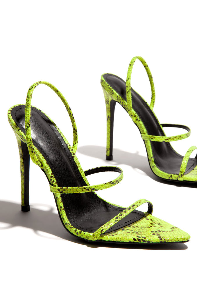 Cape Robbin Barefoot Flexin Snake Lime Thin Dainty High Heeled Dress Sandals