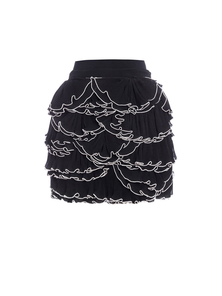 MOSCHINO BOUTIQUE FRILLED AND PLEATED FLOUNCE SKIRT BLACK A012661381555