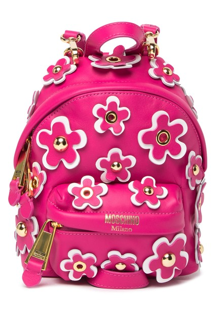 MOSCHINO Small Flower Floral Grommet Backpack Fuchsia 760480011244