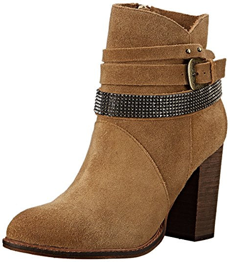 Chinese Laundry Women's Zanga Boot Camel Tan Suede Block Heel Chain Booties