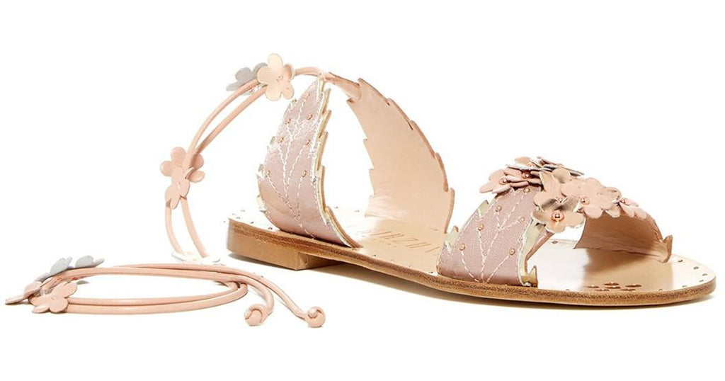 Ivy Kirzhner Gardenia Blush Nude Leather Flower Flat Tie Up Studded Sandal