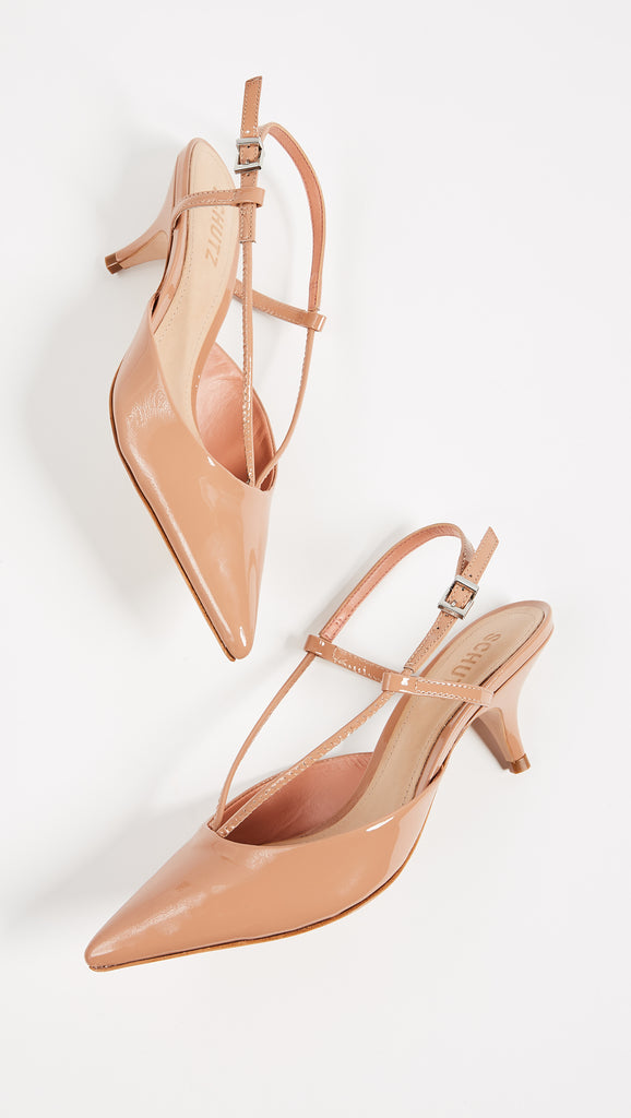 Schutz WERA Pump Toasted Nut Nude Patent leather Low Kitten Heel Pumps