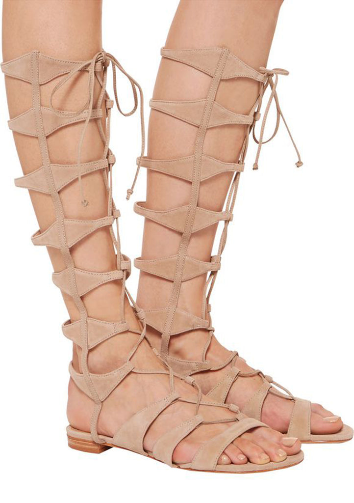 Schutz Shyla Tanino Nude Nubuck Lace Up Beige Suede Tall Gladiator Sandals