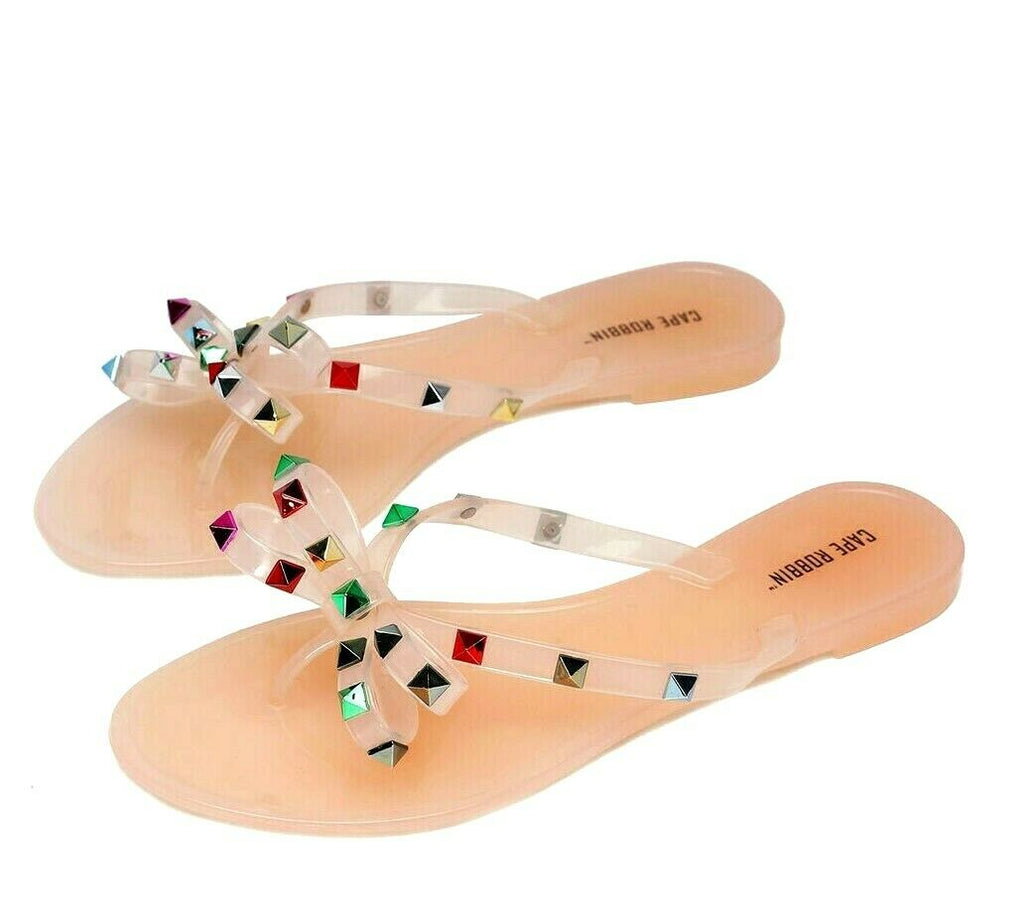 Cape Robbin Women's HAMMERED Flip Flop Slide Sandals NUDE Multi Jelly Sandals