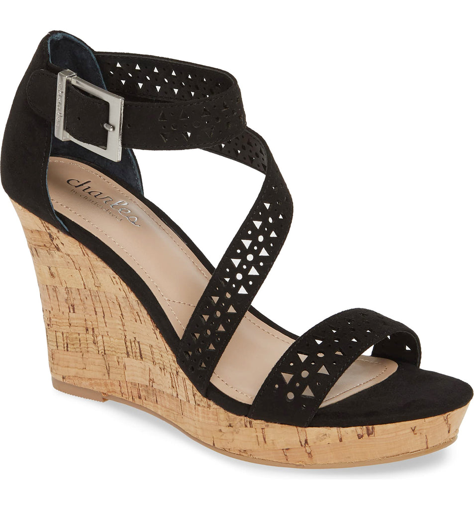 Charles David Black Strappy Ankle Buckle Cork Platform Wedge Sandals