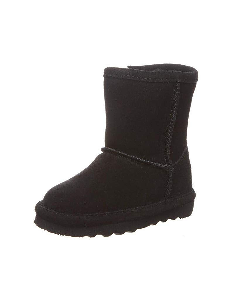 Bearpaw Kids Girl's Elle Zipper (Toddler/Little Kid) Black Fur Lined Booties