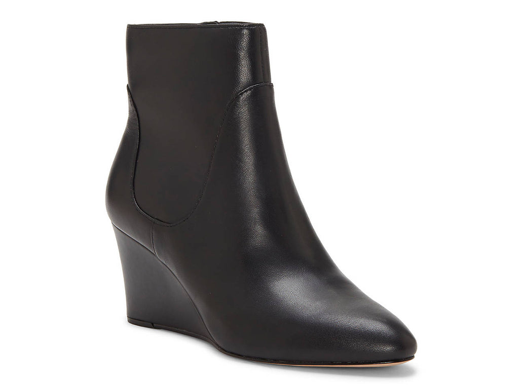 Enzo Angiolini Chrisanta Black Leather pointed Toe Wedge Ankle Booties