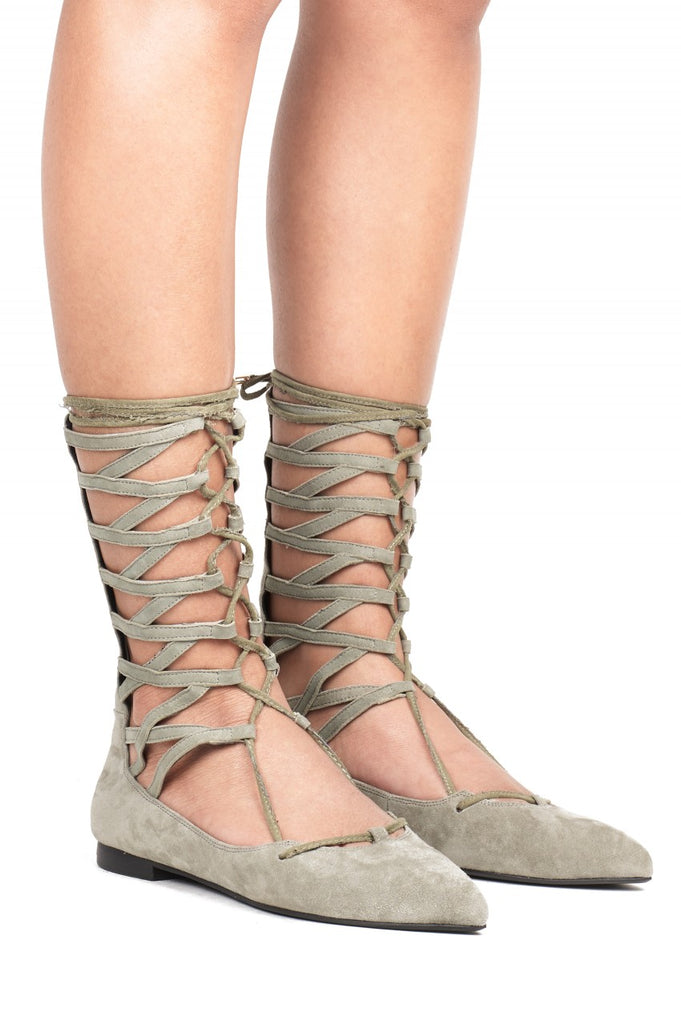 Jeffrey Campbell Atrium-Hi Moss Suede Pointed Toe Gladiator Ballet Flats